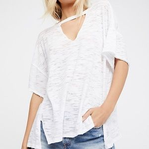 Free People Jordan Cut Out Choker Collar White Tee